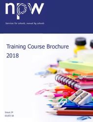 Training Course Brochure 2018 To book: trainingsms npw.uk.com