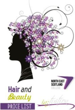 Hair and Beauty North East Scotland College Price List.