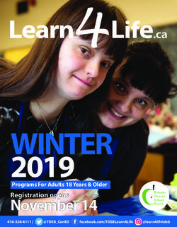 WINTER 2019 Programs For Adults 18 Years & Older - Learn4Life.ca