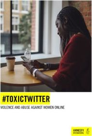 #TOXICTWITTER - VIOLENCE AND ABUSE AGAINST WOMEN ONLINE