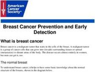 Breast Cancer Prevention and Early Detection
