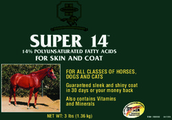 SUPER 14 FOR SKIN AND COAT FOR ALL CLASSES OF HORSES, DOGS AND CATS