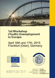 1st Workshop (Youth) Unemployment in Europe