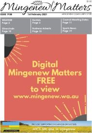 Digital FREE Mingenew Matters - www.mingenew.wa.au - ISSUE 1938 WEATHER - ...