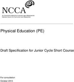 Physical Education (PE) Draft Specification for Junior Cycle Short Course For consultation October 2013