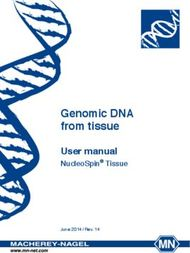Genomic DNA from tissue - User manual NucleoSpin Tissue