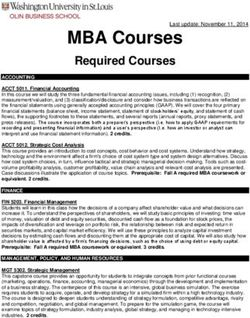 MBA Courses Required Courses
