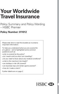 Your Worldwide Travel Insurance - Policy Summary and Policy Wording - HSBC Premier Policy Number: 011012
