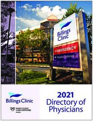 2021 Directory of Physicians - Billings Clinic