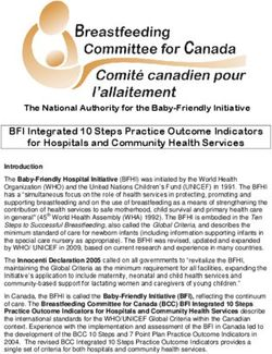 BFI Integrated 10 Steps Practice Outcome Indicators for Hospitals and Community Health Services
