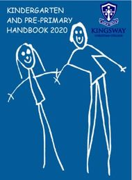 KINDERGARTEN AND PRE-PRIMARY HANDBOOK 2020