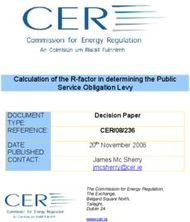 Calculation of the R-factor in determining the Public Service Obligation Levy