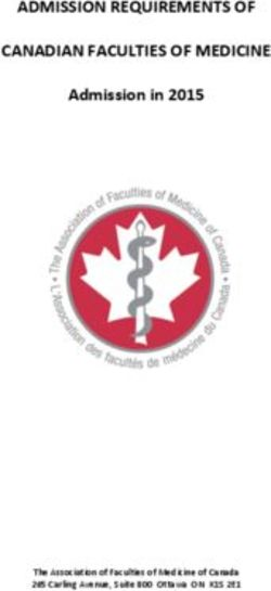 ADMISSION REQUIREMENTS OF CANADIAN FACULTIES OF MEDICINE