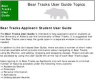 Bear Tracks User Guide Topics