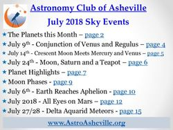 Astronomy Club of Asheville July 2018 Sky Events