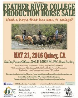 18TH Annual Feather River College Production Horse Sale Catalog. May 21.2016 Quincy, CA.