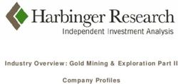 Industry Overview: Gold Mining & Exploration Part II Company Profiles