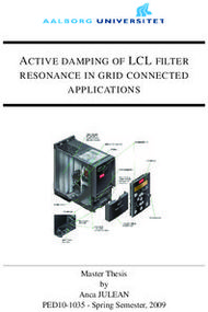 ACTIVE DAMPING OF LCL FILTER - RESONANCE IN GRID CONNECTED