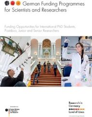 GERMAN FUNDING PROGRAMMES FOR SCIENTISTS AND RESEARCHERS - FUNDING ...