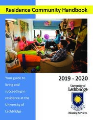 Residence Community Handbook 2019 - 2020 Your guide to living and succeeding ...