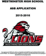 WESTMINSTER HIGH SCHOOL ASB APPLICATION 2015-2016