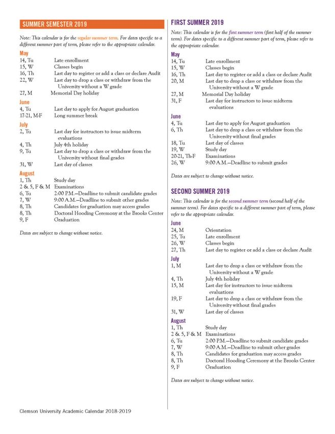 Clemson Calendar Fall 2022.2018 2019 Academic Calendar Clemson University