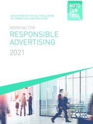 RESPONSIBLE ADVERTISING - 2021 WORKING FOR ASSOCIATION FOR THE ...