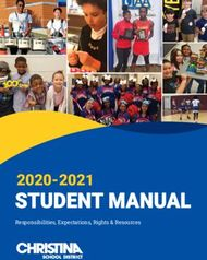STUDENT MANUAL 2020-2021 - Responsibilities, Expectations, Rights & ...