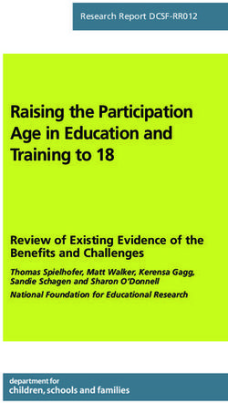 Raising the Participation Age in Education and Training to 18
