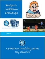 Bodger's Lockdown Challenge - Lockdown activity pack Key stage two Name