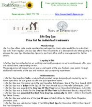 Life Day Spa Price list for individual treatments