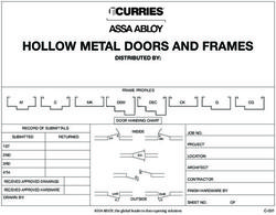HOLLOW METAL DOORS AND FRAMES - DISTRIBUTED BY