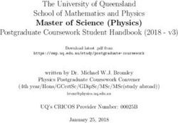 The University of Queensland School of Mathematics and Physics Master of Science Physics Postgraduate Coursework Student Handbook 2018 - v3