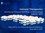 Immunic Therapeutics - Developing Selective Oral Drugs in Immunology NASDAQ: IMUX