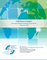 Cold Chain in Angola - Emerging Markets Program Assessment
