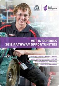 VET IN SCHOOLS 2018 PATHWAY OPPORTUNITIES