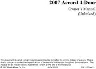 2007 Honda Accord 7th-generation Owner's Manual