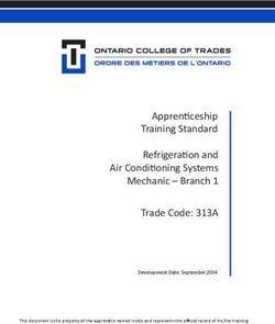Apprenticeship Training Standard Refrigeration and Air Conditioning Systems Mechanic - Branch 1 Trade Code: 313A