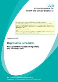 Depression (amended) - Management of depression in primary and secondary care