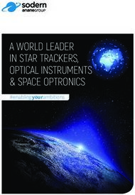 A WORLD LEADER IN STAR TRACKERS, OPTICAL INSTRUMENTS & SPACE OPTRONICS - ...