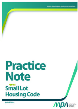 Practice Note - Housing Code - FOR THE Small Lot