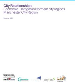 City Relationships: Economic Linkages in Northern city regions Manchester City Region