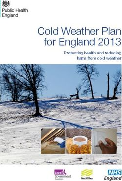Cold Weather Plan for England 2013 Protecting health and reducing harm from cold weather