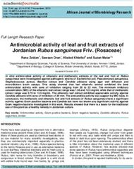 Antimicrobial activity of leaf and fruit extracts of Jordanian Rubus sanguineus Friv. (Rosaceae)
