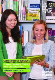 GOETHE-INSTITUT HONGKONG GERMAN LANGUAGE COURSES AND EXAMINATIONS