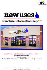 Franchise Information Report AFTER READING THE INFORMATION IN THIS REPORT, CONTACT