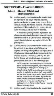 SECTION SIX - PLAYING RULES - Rule 41. Abuse of Officials