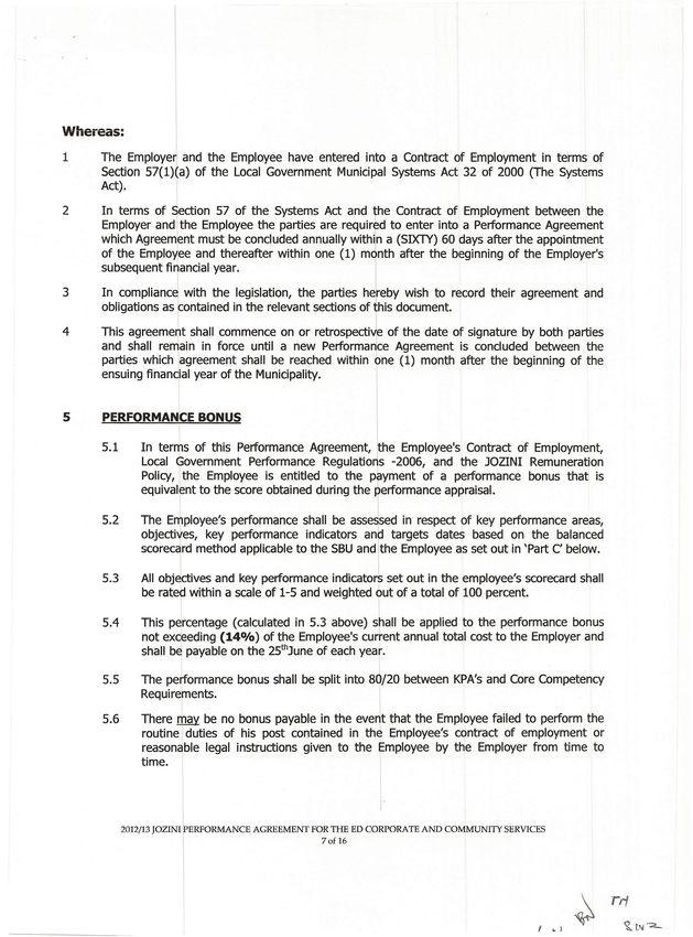 Performance Agreement Sikhumbuzo Welcome Zondo