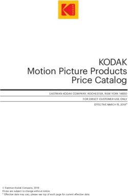 KODAK Motion Picture Products Price Catalog