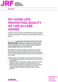 MY HOME LIFE: PROMOTING QUALITY OF LIFE IN CARE HOMES